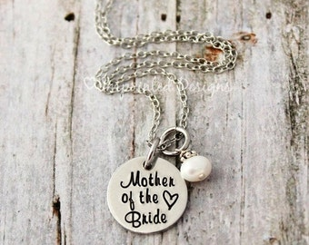 Mother of the Bride Necklace - Personalized - Date - Pearl - Gift - Wedding Gift - MOB - MOG - Mother of the Groom - Bridesmaid