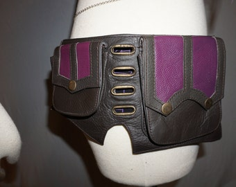 30% Off SALE! Purple and Black Leather Utility Belt with Pockets