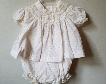 Vintage Girls Pink and White Rosebud Print Dress and Bloomers- Size 3-6 Months- New, never worn