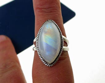 Rainbow Moonstone Ring Size 9 in Solid Sterling Silver .925 Moonstone Jewelry - SE-GSP368X