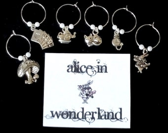 WINE CHARMS Alice in Wonderland themed set of 6 with their own message card and organza bag