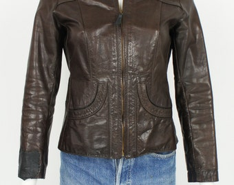 Vintage 1970's Glasswater Leathers Fitted Leather Jacket size Small