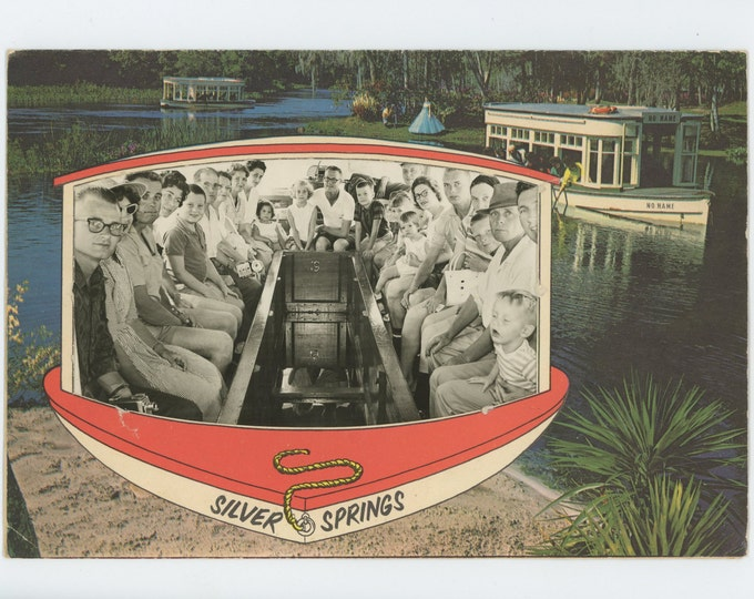 Silver Springs, FL Souvenir Photo in Paper Frame, c1950s (72548 O/S)