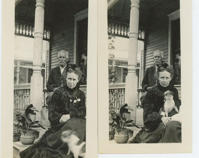 Set of 2 Vintage Snapshot Photos: Couple on Front Porch with Small Dog  (72552)