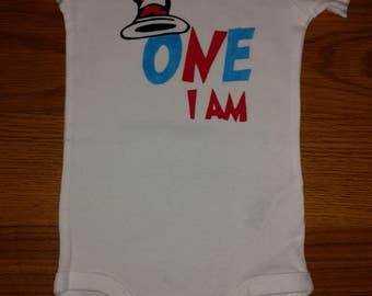 Cat In the Hat Dr. Seuss - 1st Birthday Boy or Girl Onesie or T-Shirt