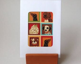 """DACHSHUND Poodle Dalmation Linen Textured Card.  6"""" x 4"""" with envelope. Blank card.  Dog Fabric greeting card gold accents ."""