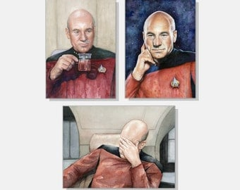 Captain Picard Art Print Set Star Trek Wall Decor Sci-Fi Geek Art Prints TNG Art Picard Facepalm Meme Tea Earl Grey Hot - Set of 3 Prints
