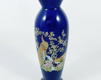 """Chokin Pheasant Bud Vase, Cobalt and Gold, 2 Pheasants, 6 3/8"""" Tall Vase, Japananese"""