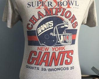 80s Vintage New York Giants Super Bowl XXI Champions 1986 nfl football T-Shirt - MEDIUM