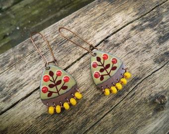 yellow triangle enamel earrings with beads
