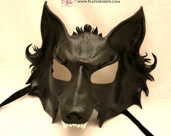 Direwolf Black Leather Cosplay Mask