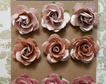 Mauve PAPER ROSES, Pink Mulberry Roses, Rose Gold Roses, Prima Roses, Pink Paper Flowers, Prima Flowers, Frosted Pink Roses, Bronze Roses