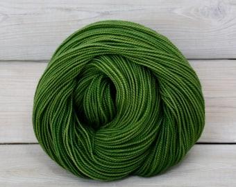 Celeste - Hand Dyed Superwash Merino Fingering Sock Yarn - Colorway: Moss