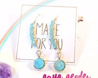 Magical Energy Earrings - Aqua Geodes
