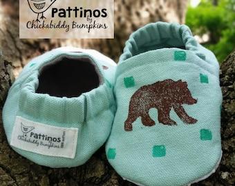 Pattinos Bear Print Baby Shoes, Crib Shoes, Booties, Soft Soled Shoes, Hand Printed Shoes, Bear Print Booties