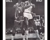 Bill vs. Wilt 1961.  Classic Chamberlain & Russel pic for the vintage early NBA fan Philly or Boston.  BW Clasic Iconic Pic.  Ready Frame.