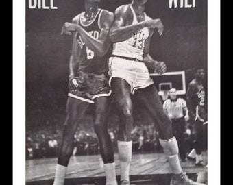 Bill vs. Wilt 1961  Classic Chamberlain & Russell pic Battling Boards Vintage NBA fan Philly or Boston.  2 pages BW Iconic Pic  Ready Frame.