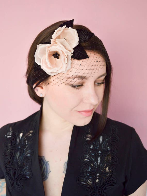 Black Fascinator -  Floral Headpiece  - Blush Silk Flowers -