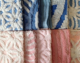 SALE...50 Vintage Chenille Blue and Pink Six-inch Quilt Squares Kit