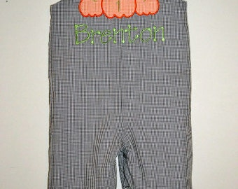Monogrammed Fall Pumpkin Longall on Brown Gingham