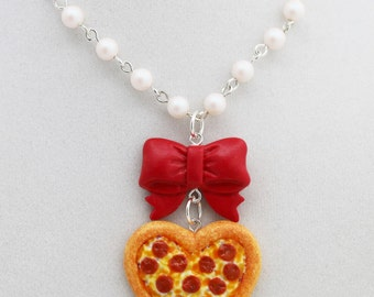 Heart Pepperoni Pizza Necklace - Valentine's Day Jewelry - Polymer Clay Jewelry - Food Jewelry - Gifts For Her