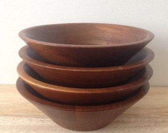 vintage walnut wood bowls / mid century modern