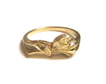 14k Yellow Gold Ring - Size 6 1/2 - Fan Design - Leaves Design - Solid 14k Yellow Gold # 2184