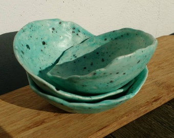 Small Pottery Bowls Set of 3 Handmade Blue Green Quirky Ceramics Perfect Wedding Gift Idea - Colourful and Bright - Made in UK