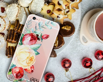 Winter Iphone case, Clear iPhone 7 Plus case with design, Floral Iphone 7 case, Birthday Iphone SE case, Personalised gifts for her (1733)