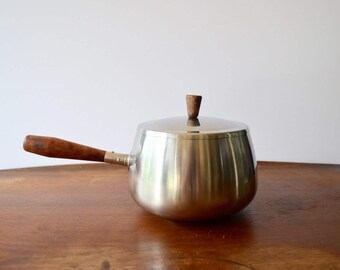 Danish Modern Style Silver Stainless Steel Fondue Pot with Wooden Handles / Dolphin Brand Japan