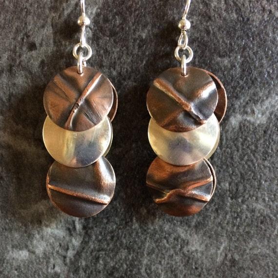 Long Fold formed copper brass silver disc metalwork earrings