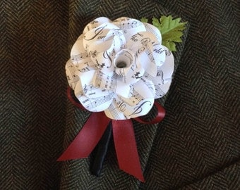 Wedding Boutonniere White or Cream Sheet Music Paper Rose Boutonniere Prom Boutonniere Custom Colors Custom Boutonniere