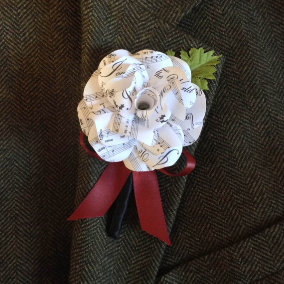 Wedding Boutonniere White Or Cream Sheet Music Paper Rose
