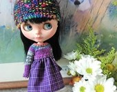 Reserverd listing Knit top dress for blythe and similar size dolls purple tone