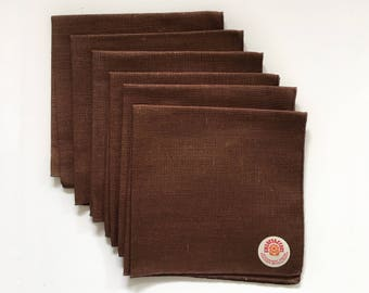 Vintage Fallani and Cohn Inc Chocolate Brown Napkins Set of 6 Linen Permanent Press New