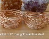 Rose gold stainless steel bangle set of 20 bulk adjustable bangles wholesale bangles charm bangles PERTH Australia