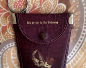 FLASH SALE It's Better in the Bahamas Key Chain Coin Change Purse Vintage Whiskey Brown Leather Windsurfer