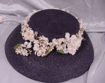 Flower Covered Easter Bonnet Hat Very Old Wide Brim Fun!