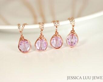 Set of 4-10 Rose Gold Bridesmaids Necklaces Lavender Swarovski Crystal Necklaces Gold Bridal Jewelry Rose Gold Necklaces Bridesmaids Gifts