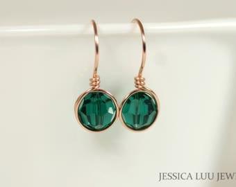Rose Gold Emerald Earrings Green Swarovski Crystal Earrings Wire Wrapped Jewelry Rose Gold Earrings Swarovski Crystal Jewelry Green Earrings