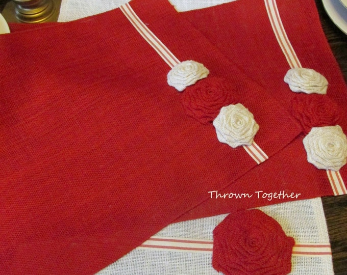 Red & White Christmas Table Linens, Burlap Runner with Place Mats, Farmhouse Christmas Decor, Holiday Table Runner, Rustic Farmhouse Decor