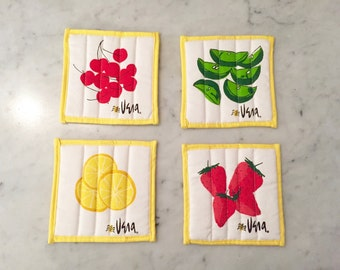 60's Vera Neumann Quilted Fruit Drink Coasters / Lemon, Lime, Cherry, Strawberry