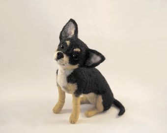 Needle Felted Shorthaired Chihuahua, Custom Made Dog Portrait, Handmade Animal, Chihuahua or any other breed - made to order