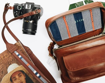 TRAVEL SET  || The Weekender Brandy , Leather Camera Bag, Photography Bag,  Womens Camera Bag, Leather Camera Bag, dslr camera bag,