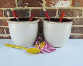 Vintage/Primitive/Folk Stoneware Pickling/Storage/Cooking Crocks (Set of 2)