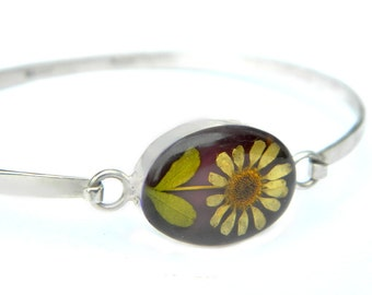 Dried Pressed Flower Mexico Hinged Bracelet Sterling Silver 1970s Dried Flower Daisy Flower Power Vintage Jewelry For Women Mexico Silver