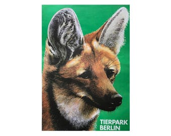 SALE 10% OFF Original Vintage Zoo Poster. Berlin. Germany. Tierpark. Fox. Advertising Poster. 2017-052