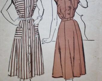 Vintage 40s Dress Patterns/Advance Pattern 4585/1940s Sweetheart Neckline Dress/ Bust 30