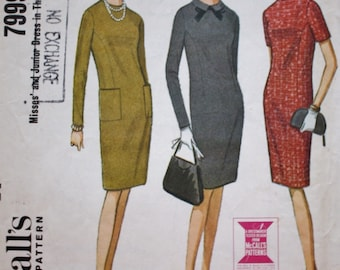 60s McCalls 7999 /Shift Dress /High Round Neck /Vintage Sewing Pattern /French Darts /Patch Pockets / Bust 36