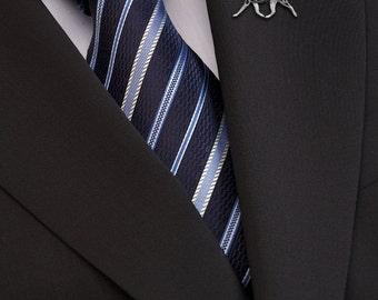 Boston Terrier brooch - sterling silver.